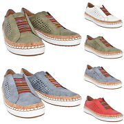 Women Breathable Slip On Sneakers Platform Loafers Pumps Trainers Hollow Shoes