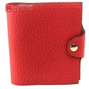 Hermes Ulysses Mini With Notepad Refill Note Cover Togo Unisex Vermillion Red