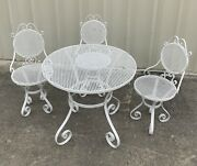 Wrought Iron Bistro Set Table And 3 Chairs Garden Antique Patio Furniture