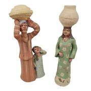 Egyptian Clay Mud Family Figurines Rustic Handmade Painted Traditional Set