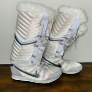 Nike Apres Sky High Faux Fur Boots Sneakers Boots Womenandrsquos Rare Htf 9 White