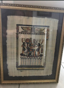5 Egyptian Papyrus Art, Professionally Matted And Framed