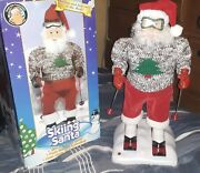 Vtg 1998 Gemmy North Pole Productions Skiing Santa Animated Musical Works