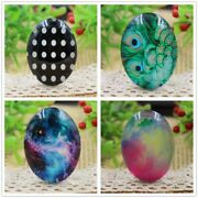 2pcs Photo Glass Cabochons 4style Handmade Pattern Domed Spacers Jewelry Finding