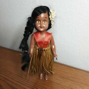 Vintage Hawaiian Female Doll With A Grass Skirt And Amber Eyes 6 Inches Tall