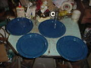Vintage 4 Blue Speckle Graniteware Plates Camping Hunting Fishing Lot C 10 1/4