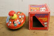 80s Snoopy The Gang Spinning Top/vintage Tinplate Toys/peanuts