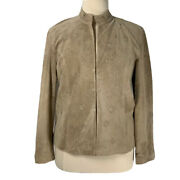 Coldwater Creek Genuine Suede Leather Jacket Nwot Tan Leather Flowers Size Xl