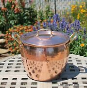 Ruffoni Hammered Copper 4.75 Qt Stock Pot W/ Brass Handles, Made In Italy