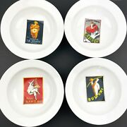 Pottery Barn 4 Piece Vintage Posters Pasta Bowls Italian 2002 9 3/4