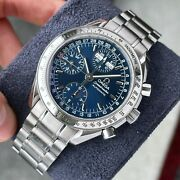 Omega Speedmaster Triple Date Blue Dial Gmt Chronograph Menand039s Watch 39mm Steel