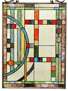 25 X 17.5 Mission Lunes Style Stained Glass Window Panel