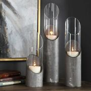 Set Of Three Karter Candle Holders Industrial Aged Iron And Glass Uttermost 17518