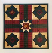 Parcheesi Wooden Game Board Folk Art Painted Primitive 1800s Style