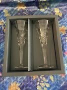 Waterford The Millennium Collection Peace Pair Of Crystal Toasting Flutes