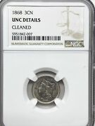 1868 Ngc 3-cent Nickel - Unc Details Really Nice Type Coin - See Photos