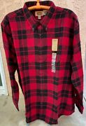 New Mens Flannel Shirt Long Sleeve Red And Black Plaid Xlt 2xl 2xlt