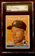 1958 Topps 150 Mickey Mantle Autographed Signed Jsa Encapsulated