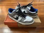 Nike Dunk Sb Low 2002 Supreme White Blue Cement 9.5 Used 100 Authentic Black