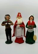 Lot Of 3 Byers Choice Carolers Mrs Cratchit Priest/bishop And Basket '86 '88 '95