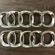 Vintage Set Of 10 Mcm Silver Plated Solid Metal Round Square Sculpt Napkin Rings
