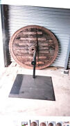 Antique Wooden Ox Cart Wheel On Iron Stand Rustic Decor C. Late 19th Cent.