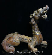 10 Old China Natural Hetian Jade Nephrite Carved Feng Shui Dragon Beast Statue