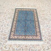 Yilong 3and039x4.5and039 Handknotted Silk Carpet Home Decor Blue Floral Rug Ywx154a