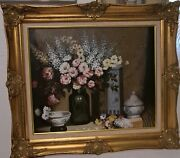 20'th Century Oil On Canvas Floral Painting By D. Goetz 28x31