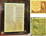 Large Constitution Of The United States Of America Printed On Parchment Framed