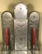 Piesafe Tin Hearts Punched Tin Candlestick Matchstick Holder Cabin Candle Decor