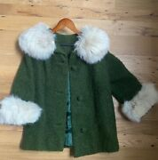 1960s Fully Lined Green Wool Boucle Winter Mini-coat Dress Coat With Fur Collar