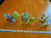 3 Hand Blown Glass Kitras Art Glass Angel Protection Wishes Blessings Ornaments