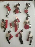 Josephine Baker And The Jazz Band Chrome And Galaith Brooches Pins Complete Set.andnbsp