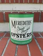 Vintage Merediths Gallon Seafood Oysters Tin Can Wingate Maryland
