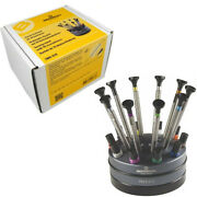 Bergeon 7965-s10 Set Of 10 Watchmakers Tool Screwdrivers With Rotating Stand