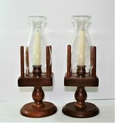 Vintage Pair Of Wood Hurricane Lamp W/ Shade Candle Holder 13 1/2 Tall