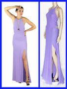 Vintage Gianni Versace Couture Open Back Lilac Silk Dress Size 42 - 6