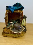 Signed Vintage One Fisherman Bookend Fish Fishing Gear Heavy Resin Material