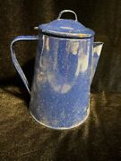 Camping Coffee Pot Stovetop Blue Speckled Enamelware