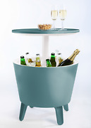 7.5 Gal Outdoor Patio Resin Cool Bar Side Table, Beer/wine/beverage Cooler Table