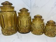 Vintage 4 Piece Le Smith Amber Gold Moon And Stars Canister Apothecary Set