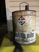 Vintage Empty Metal Can That Once Held 5 Gallons Of Skelly Quality Oil