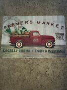 New Country Farmhouse Vintage Red Truck Farm Market Kitchen Mat Comfort Rug