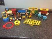 Vintage Fisher-price Little People Play Family Circus Train Huge Lot