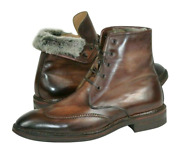 Scarpe Di Bianco Norwegian Welted Shearling Lined Calf Boots 9 Handmade In Italy