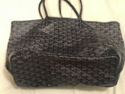 Goyard Navy Blue Chevron St Louis Tote Bag With Pouch Great Cond