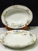 2 Theodore Haviland Limoge Green Yellow Blue Red Floral Stem Oval Serving Bowls