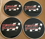 Dayton Wire Wheels Set Of 4 Black And Chrome Metal Flag Emblems Size 2.38andrdquo