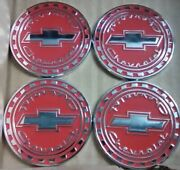 Chevrolet Reverse Gear Wire Wheel Emblems 4 Red And Chrome Size 2.25 Zenith Look